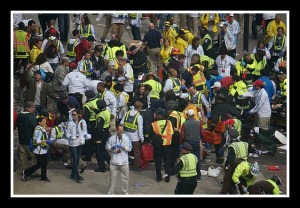 A scene from the Boston Marathon explosions.   By: Aaron Tang